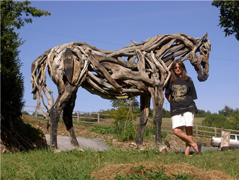Heather Jansch with one of her sculptures