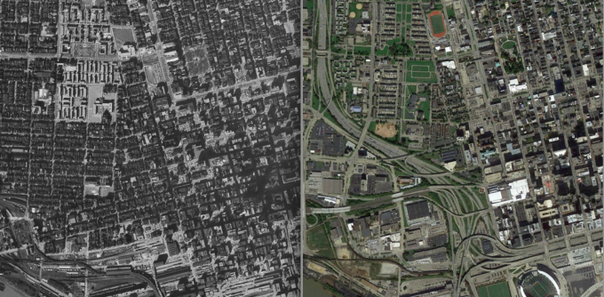 The Cincinnati riverfront before and after the construction of Interstates 71 and 75. Aerial images from Shane Hampton, the Institute for Quality Communities at the University of Oklahoma.