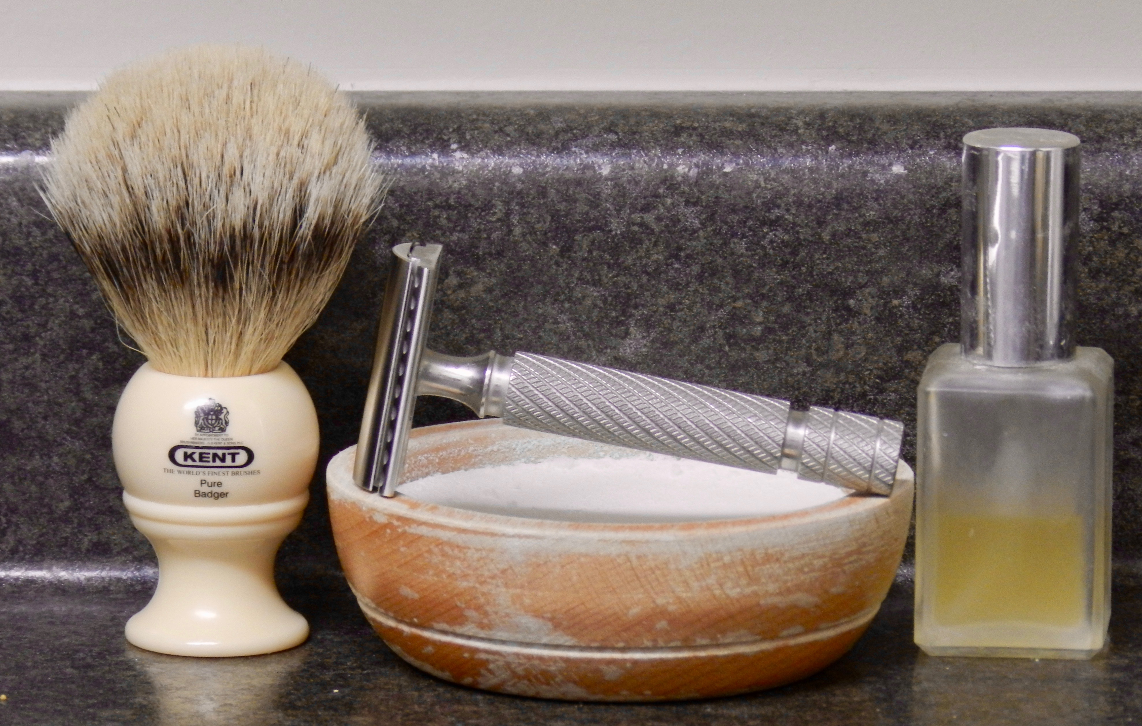 G B  Kent BK4, a fine soap, Above the Tie R1, and Dark Rose